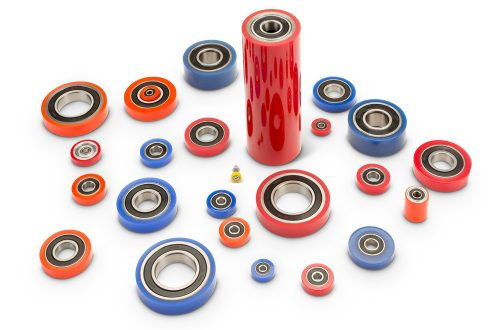 Polyurethane covered bearings