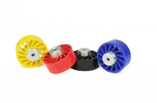 No Crush Wheel, Zero Crush Wheel, Pacing Wheel, Pacer Wheel, Spacing Wheels, Spacer Wheel, Bottle Spacer Wheel, Meridian Laboratory, Custom Polyurethane